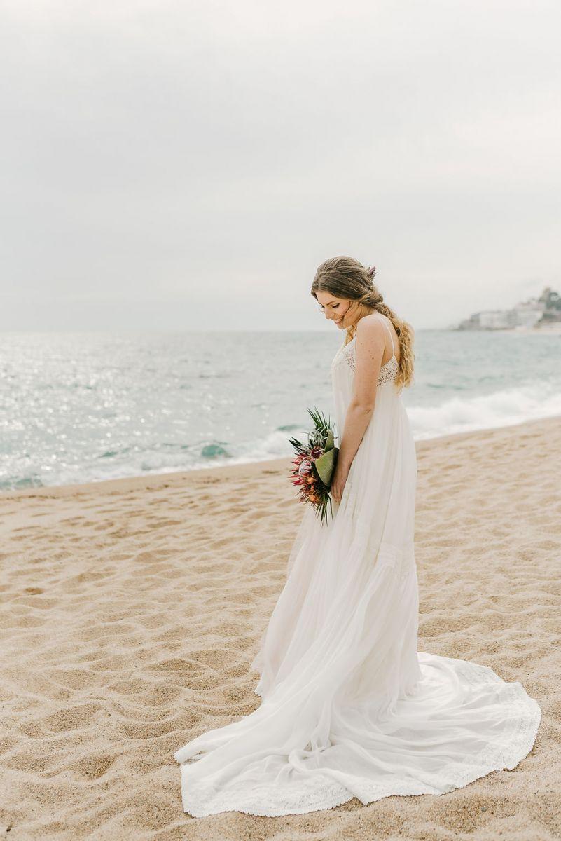 Intimate Beach Wedding Elopement In Barcelona With Beach Wedding