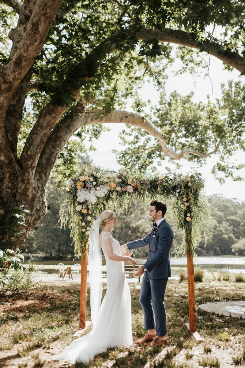 Bride In Rosa Clara Wedding Dress For An Outdoor Bush Ceremony At