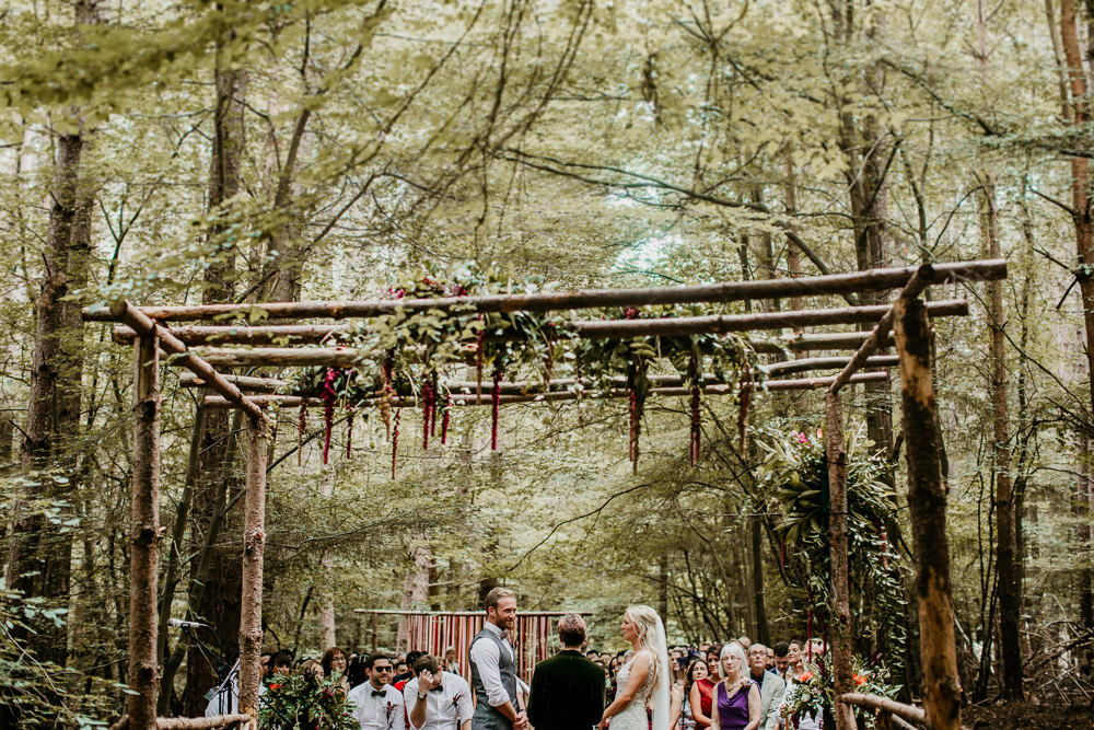 Burgundy Outdoor Ceremony & Tipi Reception At The Ancient