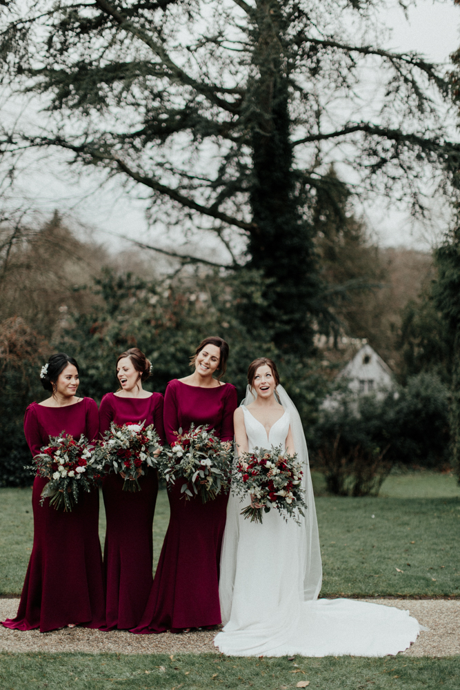 Cripps Barn Wedding In Winter With Burgundy Bridesmaid Dresses And Flowers