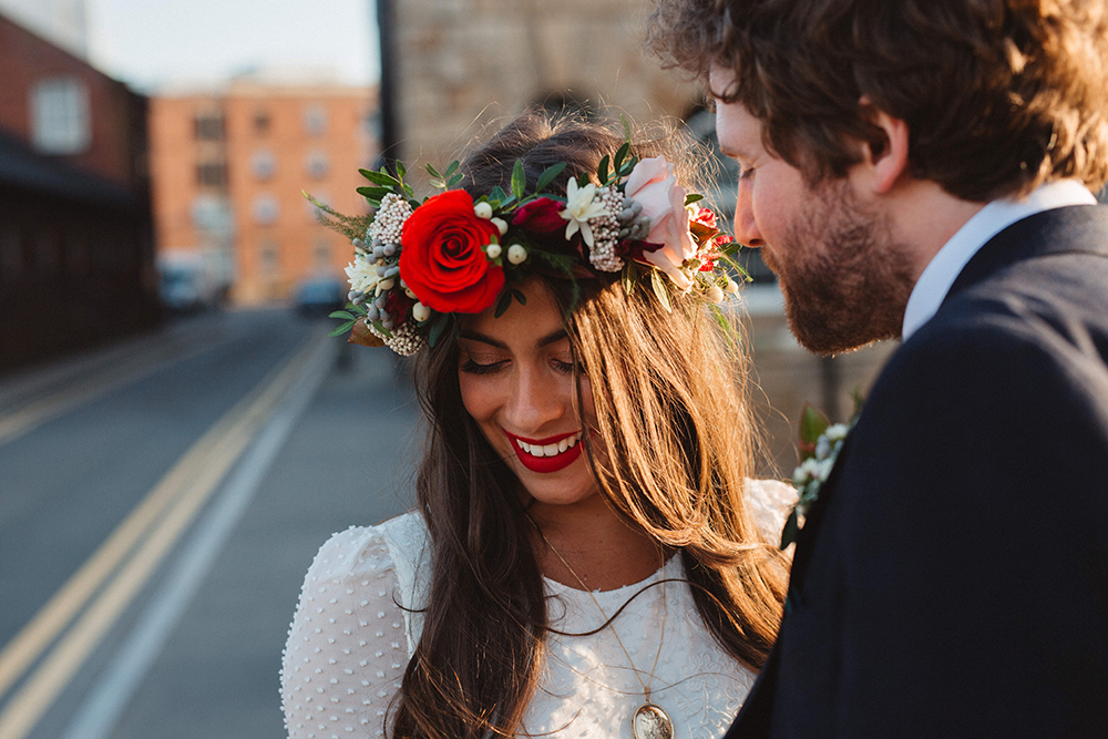 cdebfd5a8cb3a Boho Bride in Laure De Sagazan Baudelaire Bridal Gown and Flower Crown |  Groom in Navy