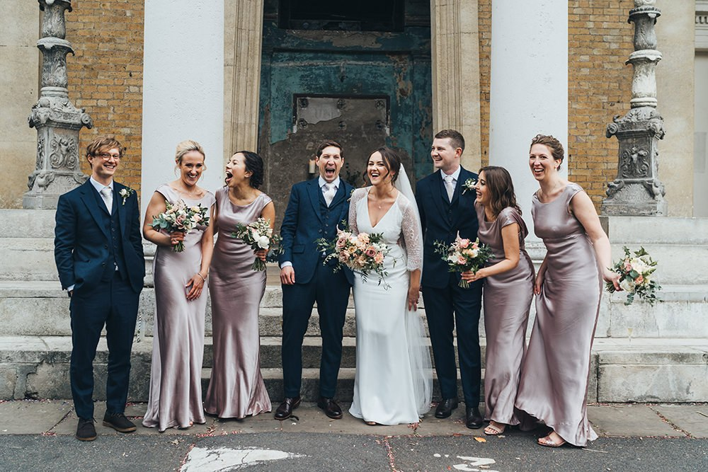 Dusky Pink Bridesmaid Dresses For City Wedding At The Asylum