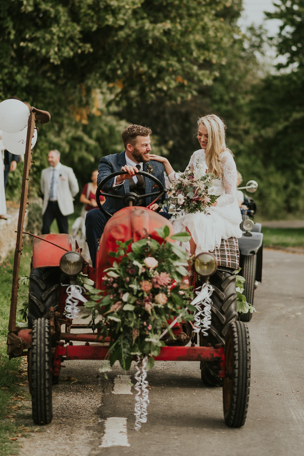 Family Home Wedding In The Cotswolds With Vintage Porsche Tractor Bride