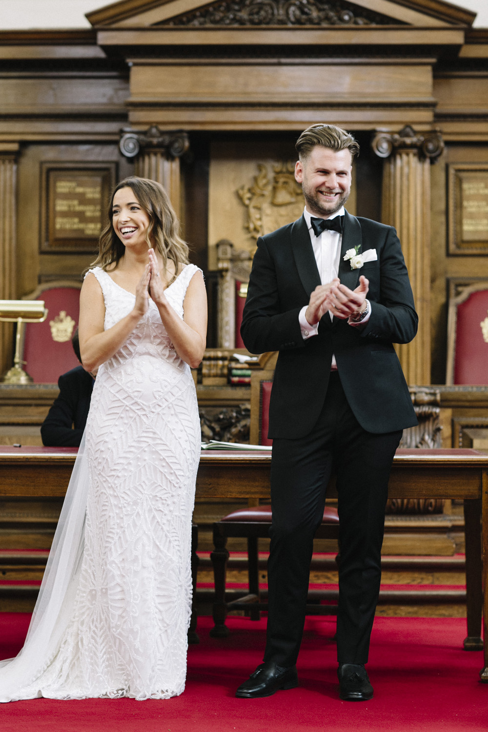White Bridesmaids Dresses And Black Tuxedos For Sophisticated Somerset House Wedding