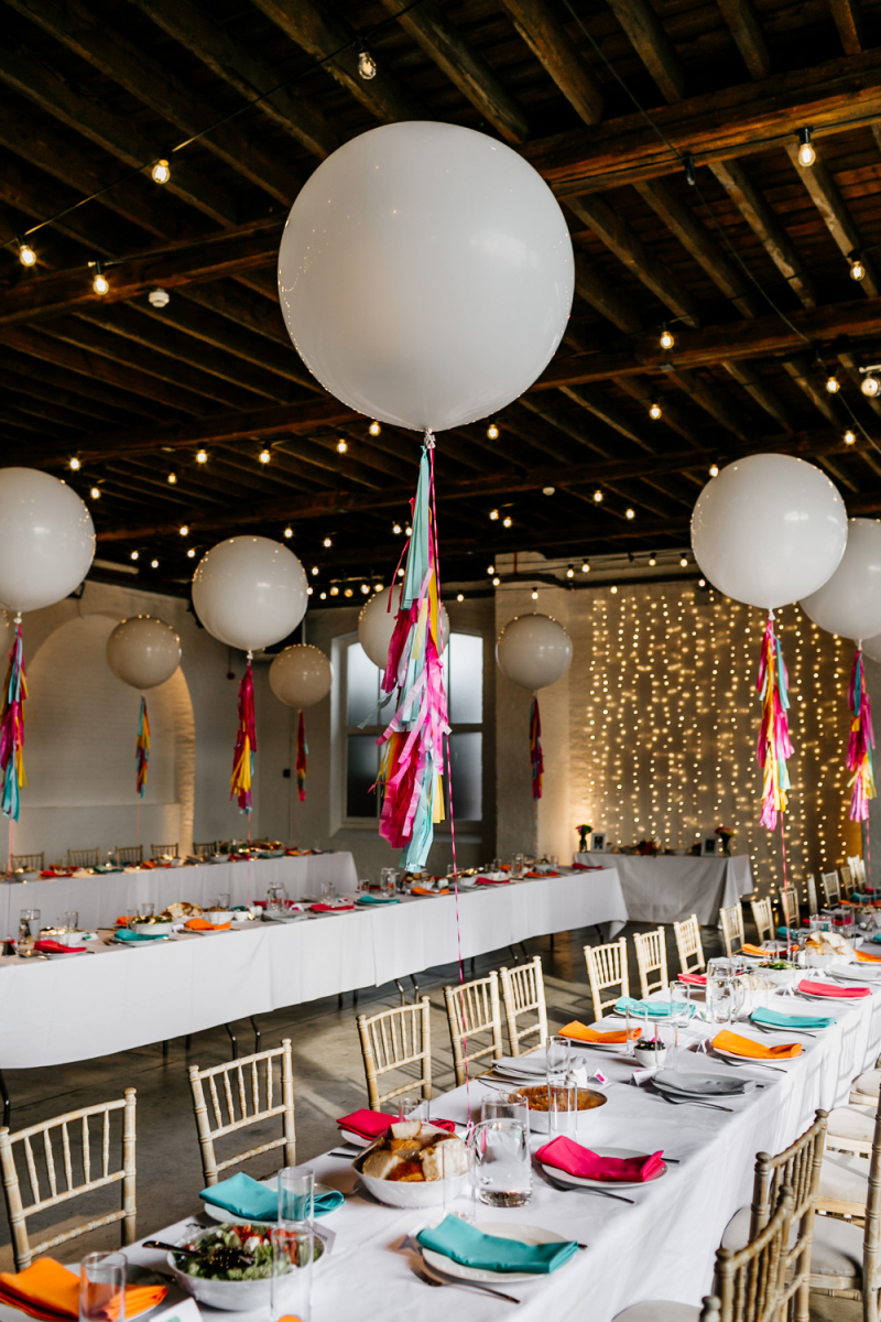 Warehouse Wedding at Trinity Buoy Wharf with Giant Balloons