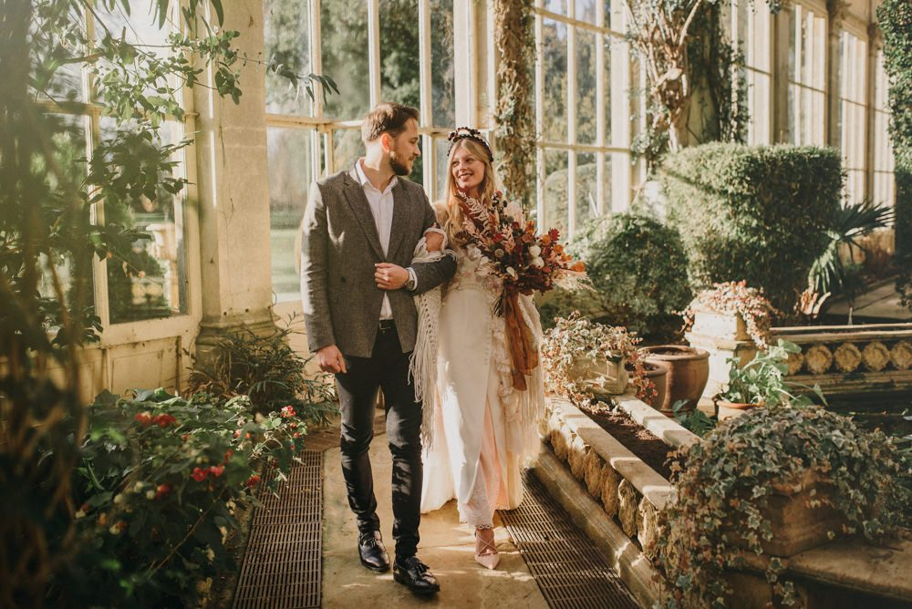 Boho Elopement At Castle Ashby In Northamptonshire With Dried