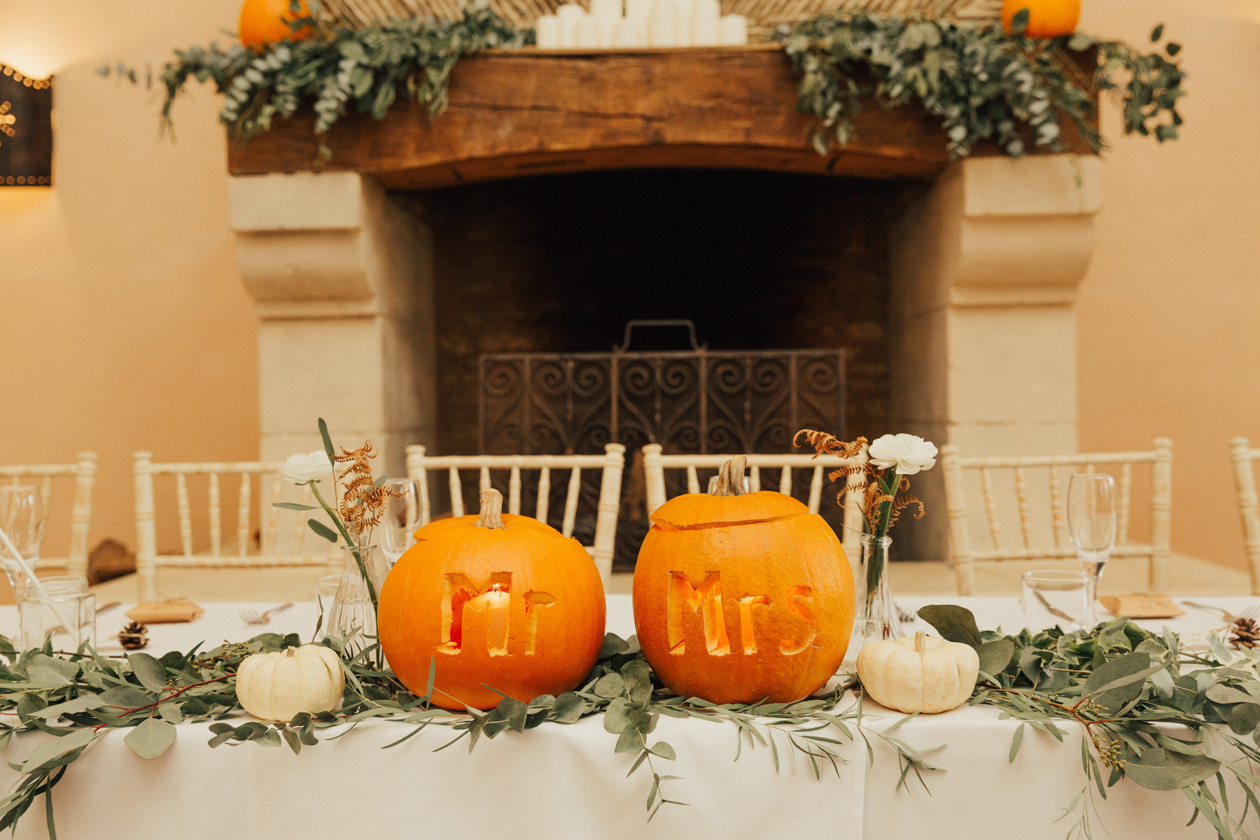 Pumpkin Wedding Decor For A Laid Back Boho Wedding In Autumn With Bride In Grace Loves Lace Wedding Dress
