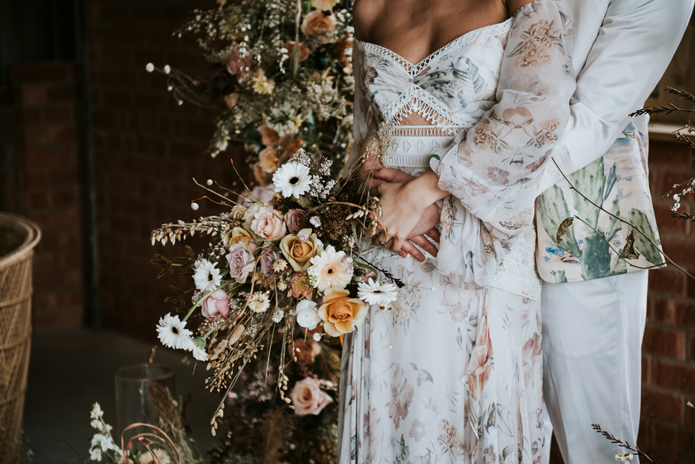 Dried Flowers And Floral Wedding Dress For Luxury Boho Inspiration
