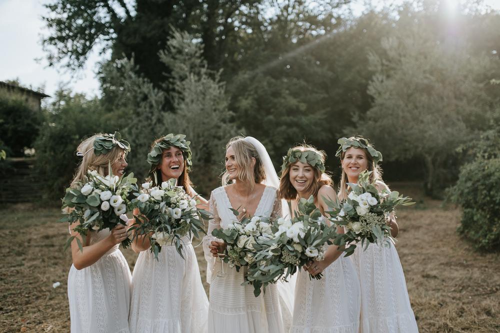 Bell Sleeve Wedding Dress For A Bohemian Wedding At La Selva Tuscany