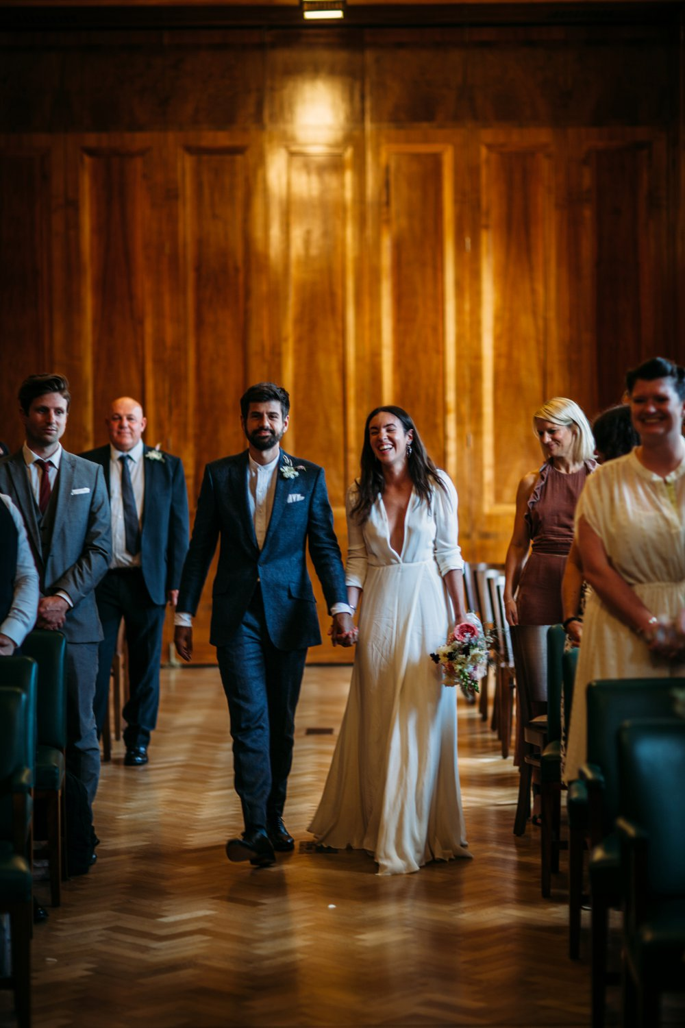 42f95643d4e Hackney Town Hall Wedding Ceremony | Bride in Reformation Dress | Groom in  Blue Richard James