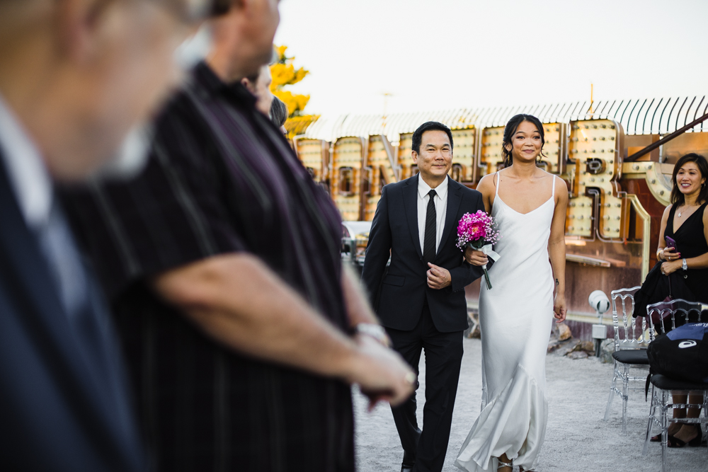 Las Vegas Wedding With Gold Sequin Bridesmaids Dresses And Silk
