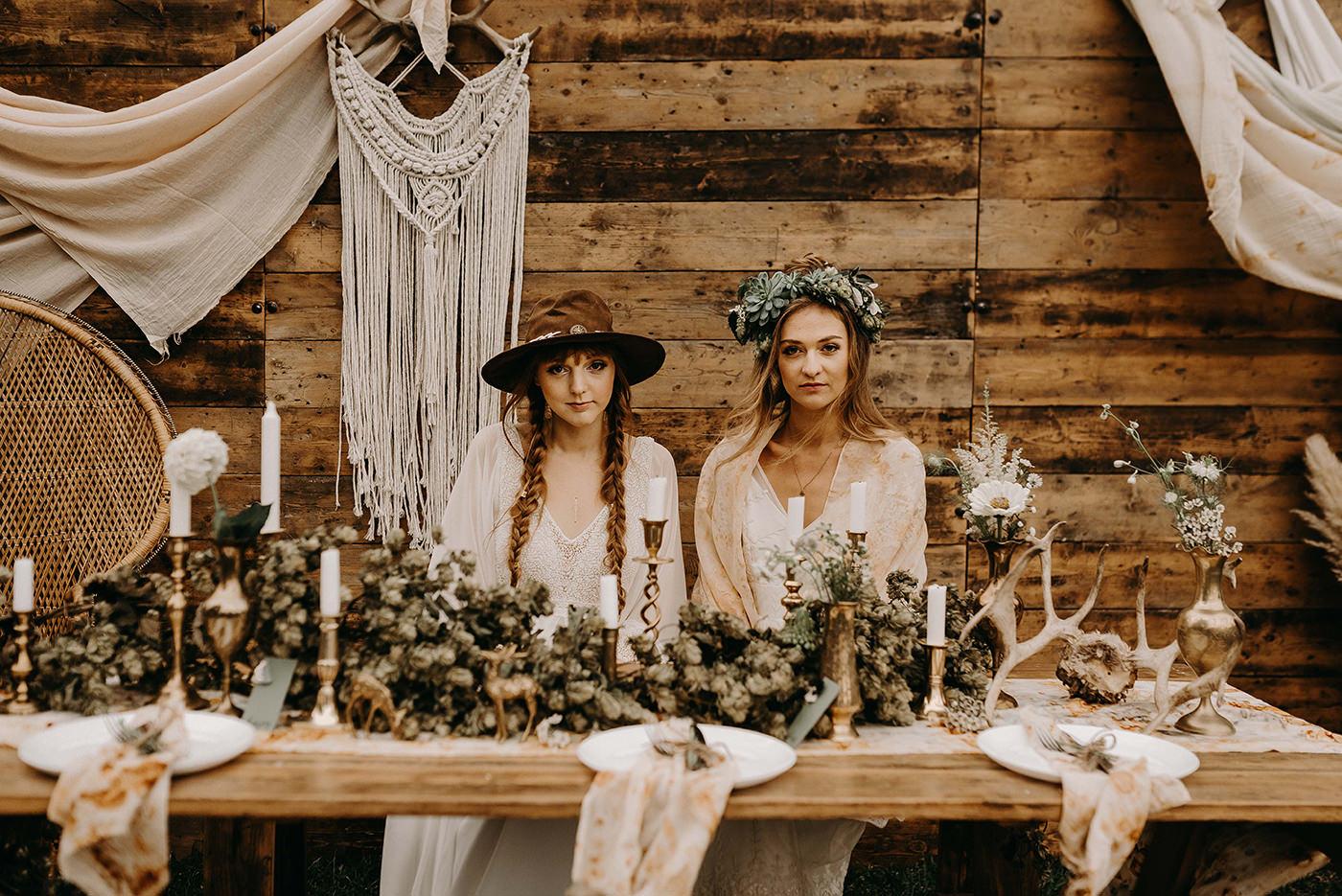 Boho Wedding Decor.Nude Bohemian Wedding Inspiration With Dried Flowers Macrame