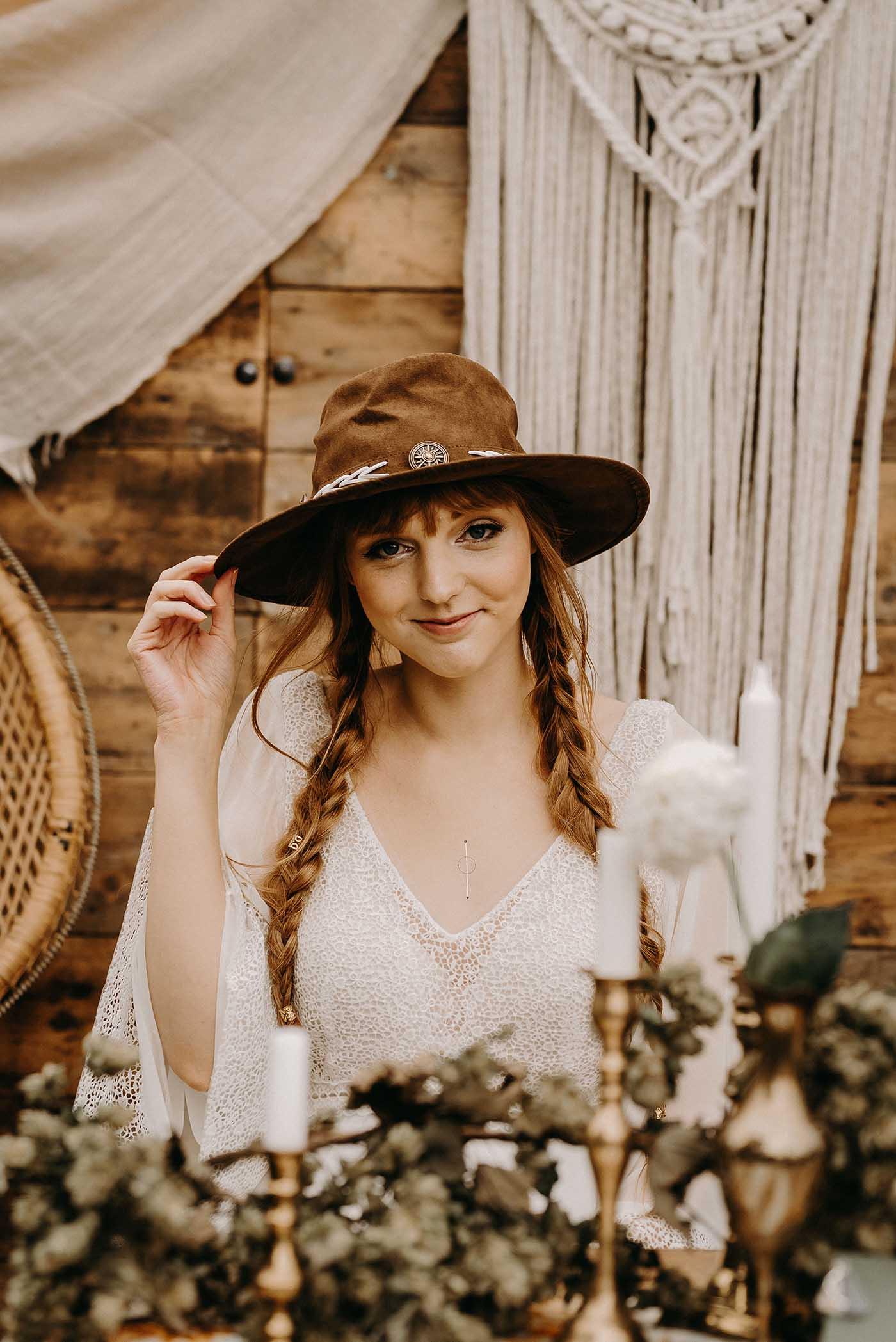 767f3d62e Boho Bride in Lace Dress & Hat | Drapes, Dried Flowers & Macrame Decor