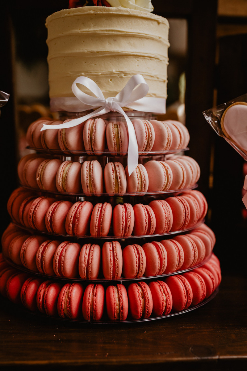 Pink Macaron Tower Wedding Cake For A Country Wedding At Cripps Barn