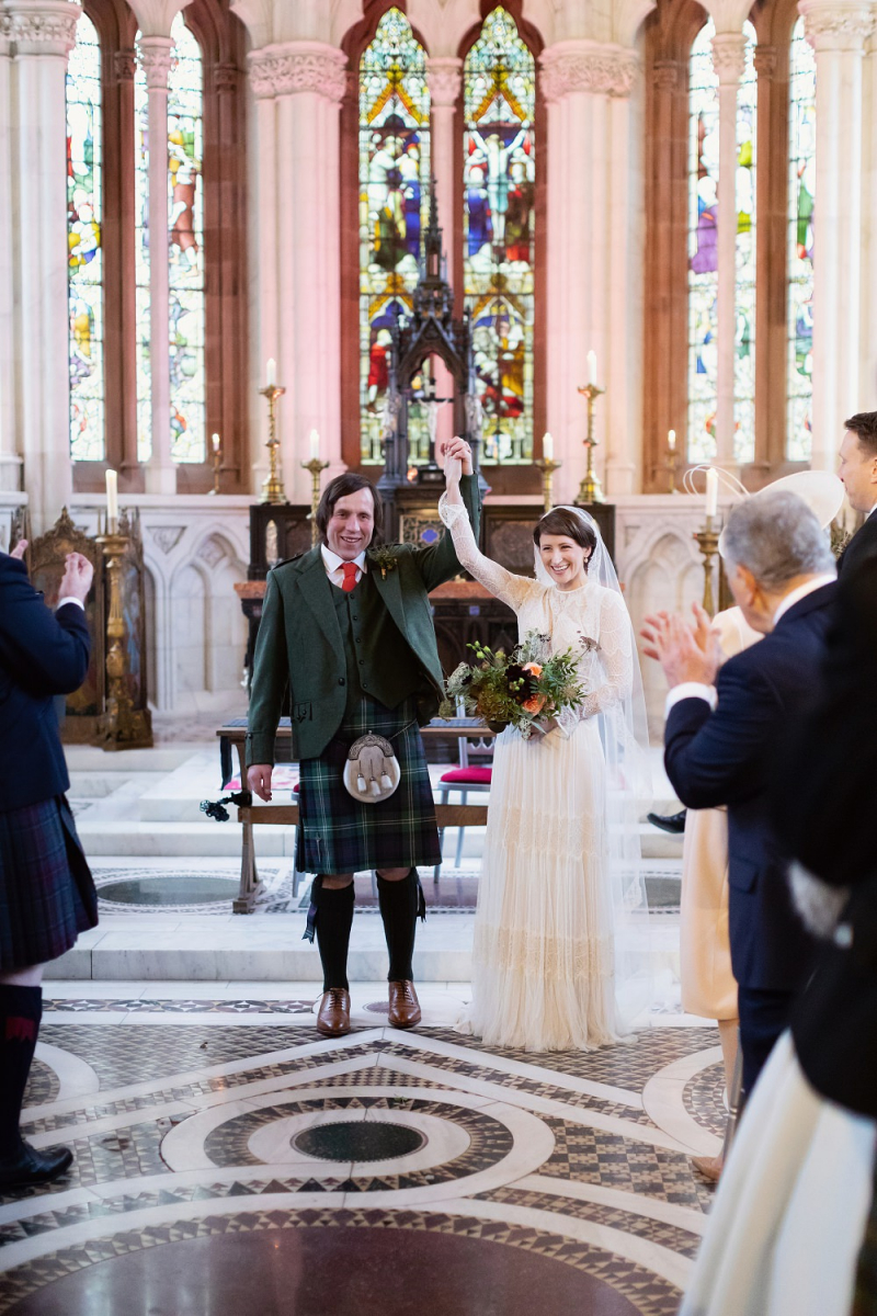 Celestial Wedding Decor for a Scottish Wedding at Mount Stuart with Bride  in Sophia Lihi Hod Wedding Dress