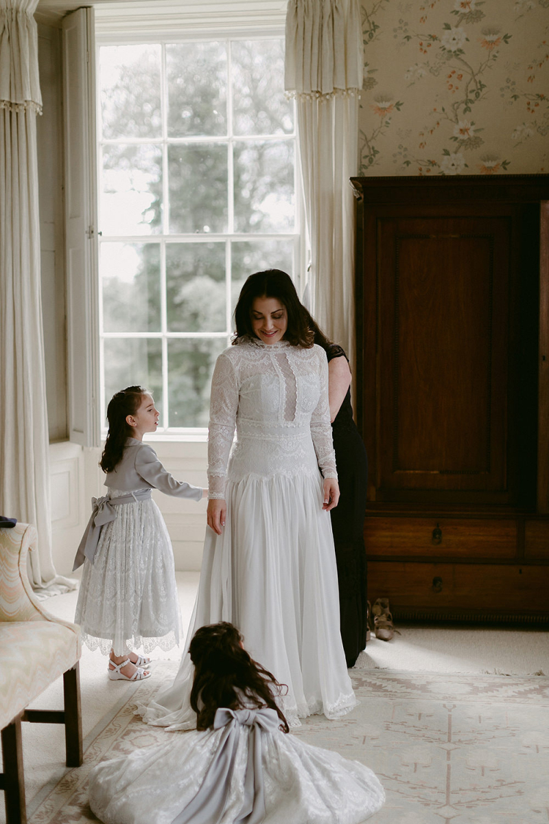 Northern Ireland Wedding With Bride In Homemade Wedding Dress With Lace Bodice And Long Sleeves
