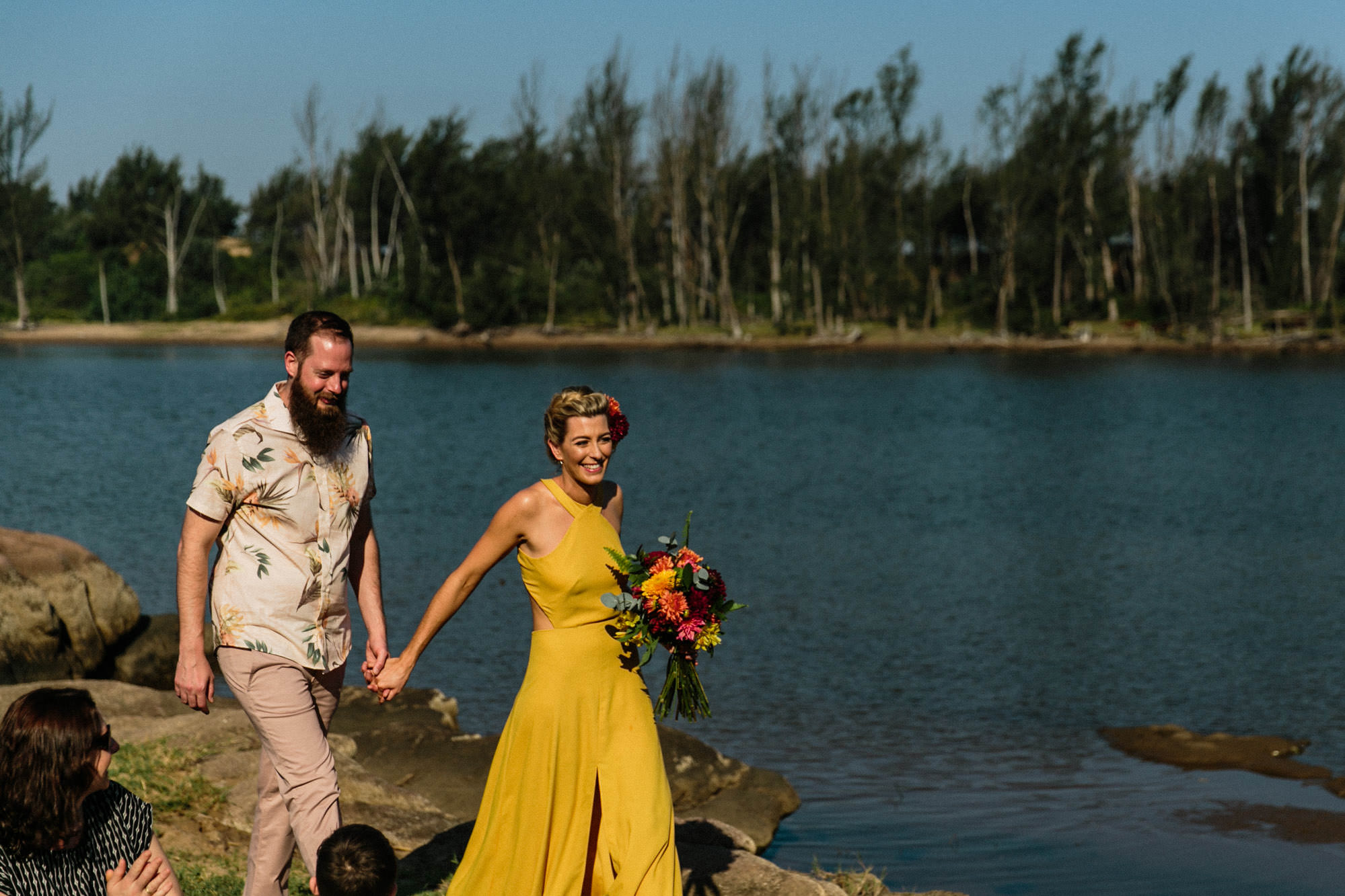 ac7a389bfaee81 Yellow Wedding Dress With Bridesmaids In Tropical Print For A Relaxed  Wedding At The Hatchery South ...