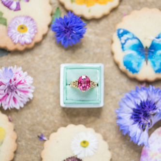 Brightly Covered Cookies & Pink Ring from The Victorian Ring Company | Spring Equinox at Thorpe Manor Wedding Venue by Revival Rooms | Anneli Marinovich Photography