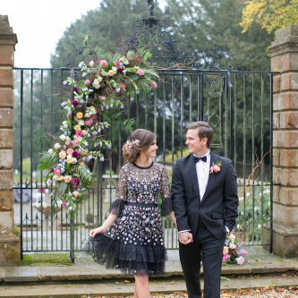 Bride in Black Floral Needle & Thread Dress | Groom in Tuxedo | Spring Equinox at Thorpe Manor Wedding Venue by Revival Rooms | Anneli Marinovich Photography