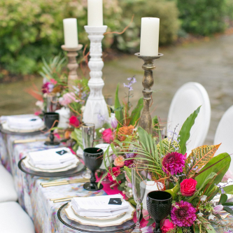 Elegant Tablescape with Church Candles, Floral Centrepieces & Wedding Stationery | Spring Equinox at Thorpe Manor Wedding Venue by Revival Rooms | Anneli Marinovich Photography
