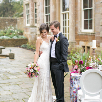 Outdoor Elegant Tablescape | Bride in Daughters of Simone Gown | Groom in Black Tie | Spring Equinox at Thorpe Manor Wedding Venue by Revival Rooms | Anneli Marinovich Photography