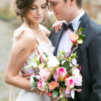 Pink Rose Bridal Bouquet | Bride in Daughters of Simone Gown | Groom in Black Tie | Spring Equinox at Thorpe Manor Wedding Venue by Revival Rooms | Anneli Marinovich Photography
