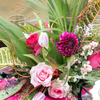 Fuchsia & Baby Pink Wedding Flowers | Spring Equinox at Thorpe Manor Wedding Venue by Revival Rooms | Anneli Marinovich Photography