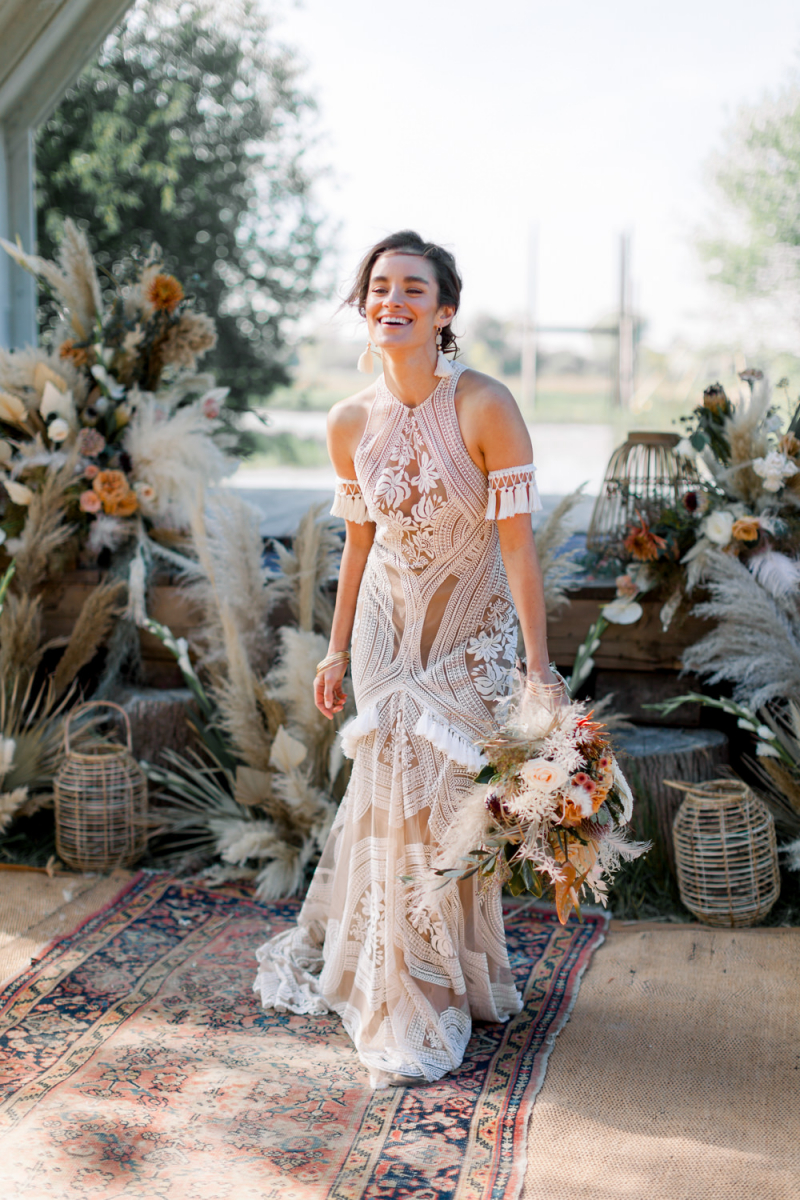 Boho Wedding Dress And Inspiration With Dried Flowers At
